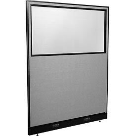 "Electric Office Partition Panel with Partial Window, 60-1/4""W x 76""H, Gray"