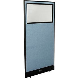 """Electric Office Partition Panel with Partial Window, 36-1/4""""W x 76""""H, Blue"""