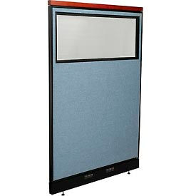 "Deluxe Electric Office Partition Panel with Partial Window, 48-1/4""W x 77-1/2""H, Blue"