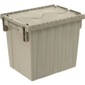 Plastic Storage Container   Attached Lid DC1813 15 18 X 13 X 15 Gray