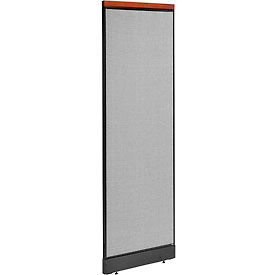 """Deluxe Office Partition Panel with Raceway, 24-1/4""""W x 77-1/2""""H, Gray"""