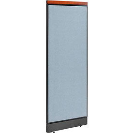 """Deluxe Office Partition Panel with Raceway, 24-1/4""""W x 65-1/2""""H, Blue"""