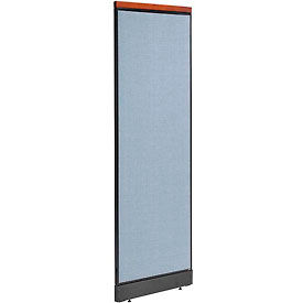 "Deluxe Non-Electric Office Partition Panel with Raceway, 24-1/4""W x 77-1/2""H, Blue"