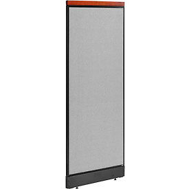 """Deluxe Non-Electric Office Partition Panel with Raceway, 24-1/4""""W x 65-1/2""""H, Gray"""
