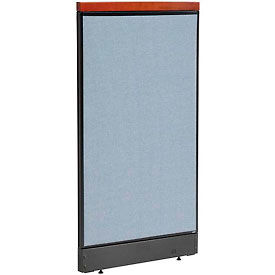 "Deluxe Office Partition Panel with Pass Thru Cable, 24-1/4""W x 47-1/2""H, Blue"