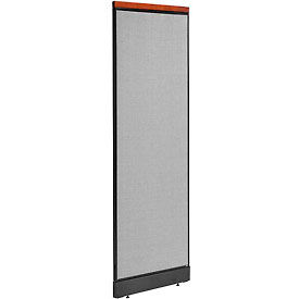 """Deluxe Office Partition Panel with Pass Thru Cable, 24-1/4""""W x 77-1/2""""H, Gray"""