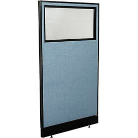 """Office Partition Panel with Partial Window & Pass-Thru Cable, 36-1/4""""W x 64""""H, Blue"""