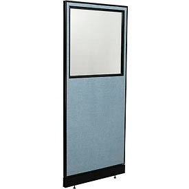 "Office Partition Panel with Partial Window & Pass-Thru Cable, 24-1/4""W x 76""H, Blue"