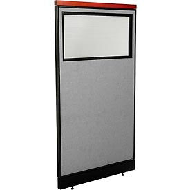"Deluxe Office Partition Panel with Partial Window & Pass-Thru Cable, 36-1/4""W x 65-1/2""H, Gray"