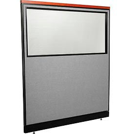 """Deluxe Office Partition Panel with Partial Window & Pass-Thru Cable, 60-1/4""""W x 65-1/2""""H, Gray"""