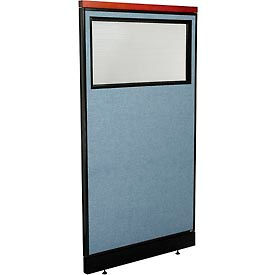 "Deluxe Office Partition Panel with Partial Window & Pass-Thru Cable, 36-1/4""W x 65-1/2""H, Blue"