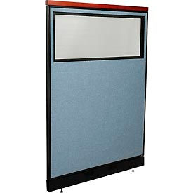 """Deluxe Office Partition Panel with Partial Window & Pass-Thru Cable, 48-1/4""""W x 65-1/2""""H, Blue"""