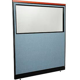 """Deluxe Office Partition Panel with Partial Window & Pass-Thru Cable, 60-1/4""""W x 65-1/2""""H, Blue"""
