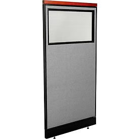 """Deluxe Office Partition Panel with Partial Window & Pass-Thru Cable, 36-1/4""""W x 77-1/2""""H, Gray"""