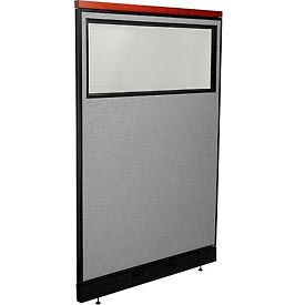 """Deluxe Office Partition Panel with Partial Window & Pass-Thru Cable, 48-1/4""""W x 77-1/2""""H, Gray"""