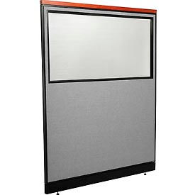 "Deluxe Office Partition Panel with Partial Window & Pass-Thru Cable, 60-1/4""W x 77-1/2""H, Gray"