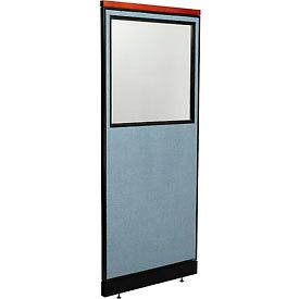 """Deluxe Office Partition Panel with Partial Window & Pass-Thru Cable, 24-1/4""""W x 77-1/2""""H, Blue"""