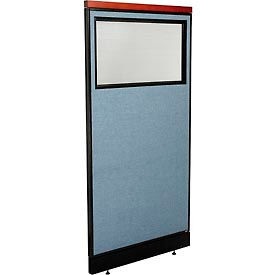 "Deluxe Office Partition Panel with Partial Window & Pass-Thru Cable, 36-1/4""W x 77-1/2""H, Blue"