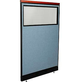 """Deluxe Office Partition Panel with Partial Window & Pass-Thru Cable, 48-1/4""""W x 77-1/2""""H, Blue"""
