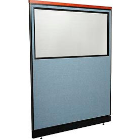 "Deluxe Office Partition Panel with Partial Window & Pass-Thru Cable, 60-1/4""W x 77-1/2""H, Blue"