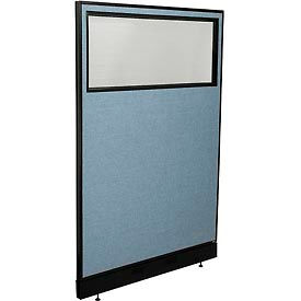 "Office Partition Panel with Partial Window & Pass-Thru Cable, 48-1/4""W x 76""H, Blue"