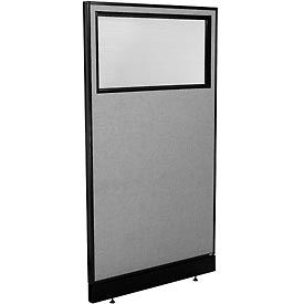 "Office Partition Panel with Partial Window & Raceway, 36-1/4""W x 64""H, Gray"