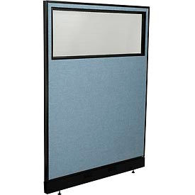 "Office Partition Panel with Partial Window & Raceway, 48-1/4""W x 64""H, Blue"