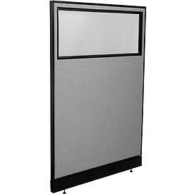 """Office Partition Panel with Partial Window & Raceway, 48-1/4""""W x 76""""H, Gray"""