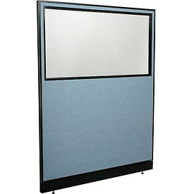 "Office Partition Panel with Partial Window & Raceway, 60-1/4""W x 76""H, Blue"