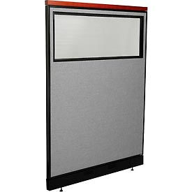 "Deluxe Office Partition Panel with Partial Window & Raceway, 48-1/4""W x 65-1/2""H, Gray"