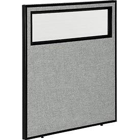 """Office Partition Panel with Partial Window, 36-1/4""""W x 42""""H, Gray"""