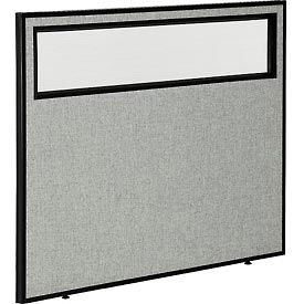 """Office Partition Panel with Partial Window, 48-1/4""""W x 42""""H, Gray"""