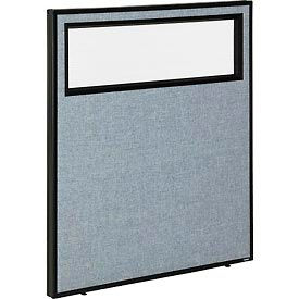 """Office Partition Panel with Partial Window, 36-1/4""""W x 42""""H, Blue"""