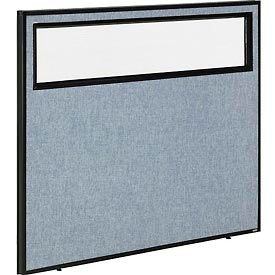 """Office Partition Panel with Partial Window, 48-1/4""""W x 42""""H, Blue"""
