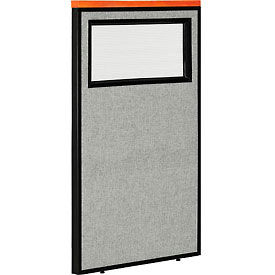 """Deluxe Office Partition Panel with Partial Window, 24-1/4""""W x 43-1/2""""H, Gray"""