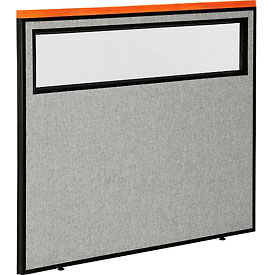 "Deluxe Office Partition Panel with Partial Window, 48-1/4""W x 43-1/2""H, Gray"