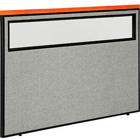 """Deluxe Office Partition Panel with Partial Window, 60-1/4""""W x 43-1/2""""H, Gray"""