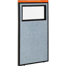 """Deluxe Office Partition Panel with Partial Window, 24-1/4""""W x 43-1/2""""H, Blue"""
