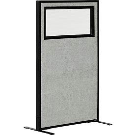 """Freestanding Office Partition Panel with Partial Window, 24-1/4""""W x 42""""H, Gray"""