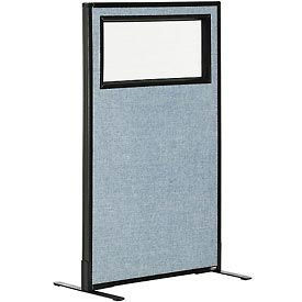 """Freestanding Office Partition Panel with Partial Window, 24-1/4""""W x 42""""H, Blue"""