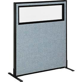 """Freestanding Office Partition Panel with Partial Window, 36-1/4""""W x 42""""H, Blue"""