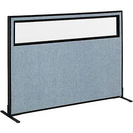 "Freestanding Office Partition Panel with Partial Window, 60-1/4""W x 42""H, Blue"