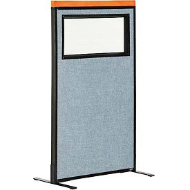 """Deluxe Freestanding Office Partition Panel with Partial Window, 24-1/4""""W x 43-1/2""""H, Blue"""