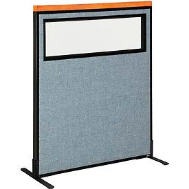 """Deluxe Freestanding Office Partition Panel with Partial Window, 36-1/4""""W x 43-1/2""""H, Blue"""