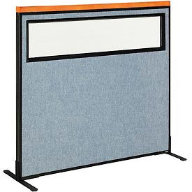 """Deluxe Freestanding Office Partition Panel with Partial Window, 48-1/4""""W x 43-1/2""""H, Blue"""