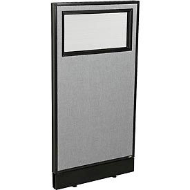 """Office Partition Panel with Partial Window & Raceway, 24-1/4""""W x 46""""H, Gray"""