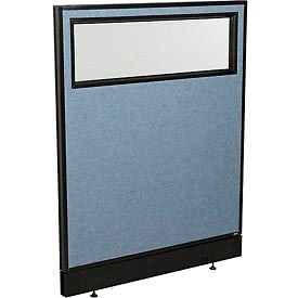"""Office Partition Panel with Partial Window & Raceway, 36-1/4""""W x 46""""H, Blue"""