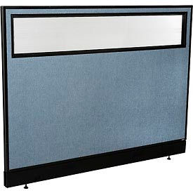 "Office Partition Panel with Partial Window & Raceway, 60-1/4""W x 46""H, Blue"