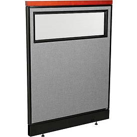 """Deluxe Office Partition Panel with Partial Window & Raceway, 36-1/4""""W x 47-1/2""""H, Gray"""
