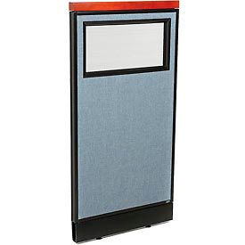 "Deluxe Office Partition Panel with Partial Window & Raceway, 24-1/4""W x 47-1/2""H, Blue"